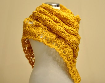CLEARANCE! Yellow Shawl / Yellow Crochet Shawl / Yellow Wrap Shawl / Yellow Wedding Shawl / Yellow Triangle Shawl / Classic