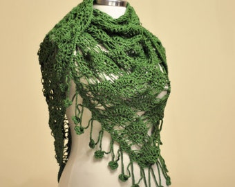 CLEARANCE! Green Organic Cotton Triangle Shawl