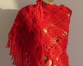 CLEARANCE! Red Shawl / Red Crochet Shawl / Red Wrap Shawl / Red Mohair Shawl / Red Triangle Shawl