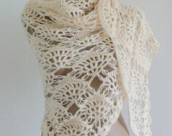 Ivory Classic Shawl / Ivory Crochet Shawl / Ivory Wrap Shawl / Ivory Mohair Shawl / Ivory Triangle Shawl