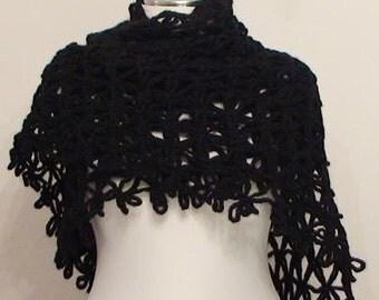 CLEARANCE! Black Anatolia Shawl / Black Crochet Shawl / Black Wrap Shawl / Black Mohair Shawl / Black Triangle Shawl