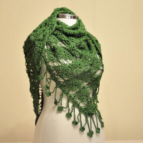 CLEARANCE! Green Organic Cotton Triangle Shawl