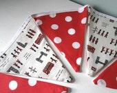 London England Bunting / Pennants w retro polka dots