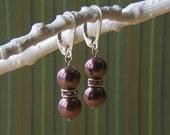 Purple Pearl et Swarovski Rondelle boucles d'oreilles
