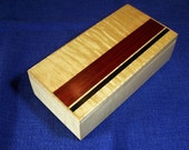Men's Valet Dresser Box Jewelry Box , Maple Wood with Bloodwood Inlay