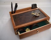 Desk or Dresser Box or Mens Valet, Cherry with Burl Inlay