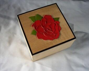 Flower Jewelry Box Keepsake Box, Maple with Rose Inlay, Custom Order