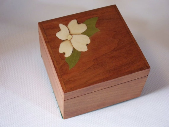 Wood Jewelry Box Keepsake Box Bridesmaid's Box, Cherry with Dogwood Inlay