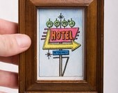 Rooms By The Hour - Framed Color Artist Trading Card (ATC) - Signed Numbered Limited-Edition Giclee Miniature Googie Architecture Sign Pic