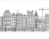 Cityscape Original Drawing - Incredibly Detailed Pen-and-Ink City Panorama - Matted and Framed - One of a Kind