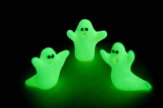 Glow-In-The-Dark Miniature Ghost Figures Clay Handmade Sculptures