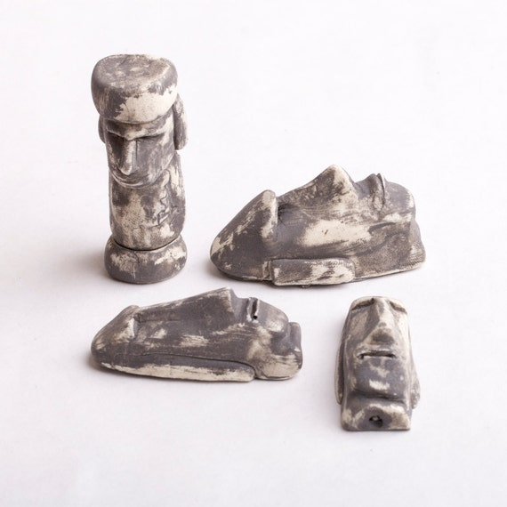 Six easter island heads miniature terrarium sculptures sex for Moai fish tank