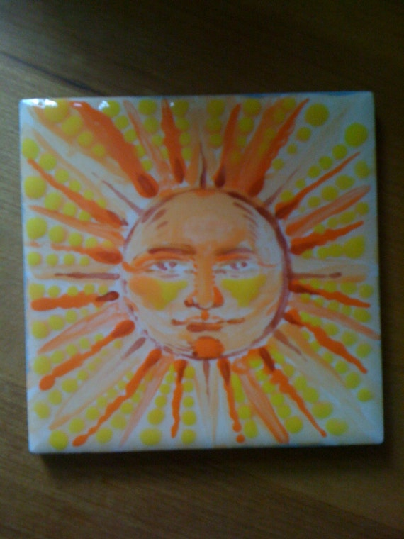 Face of the Sun Vibrant Handpainted Tile