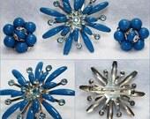 VINTAGE Enamel Rhinestone Brooch Earring Set In Yale Blue
