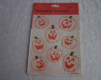 Vintage Halloween Stickers Glittery Sparkly Jack O Lanterns Pumpkins 1986 AGC