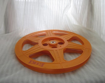 Vintage Eiki Film Reel, Orange Plastic 1200 Feet 360 Meters 33 Minutes Decor, Prop, or Supply