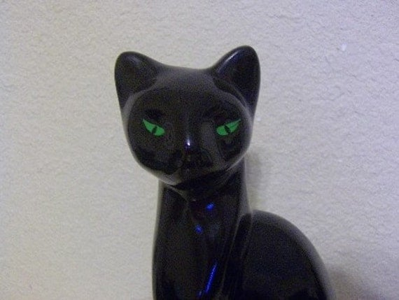 Large Vintage Ceramic Black Cat Figurine for that Spooky Retro Look