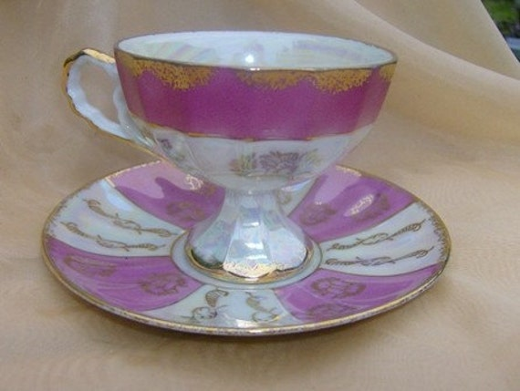 Footed Lustre Luster Tea Cup and Saucer With Pink and Gold