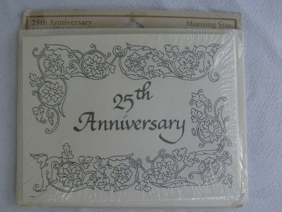 25th Anniversary Invitation Cards Vintage pack of 8