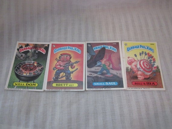 4 Vintage Topps Garbage Pail Kids Cards Stickers 1986