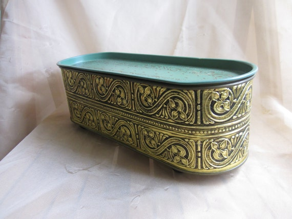 Ornate Gulidcraft Tin Sewing Box Footed Container Mid Century Cuteness