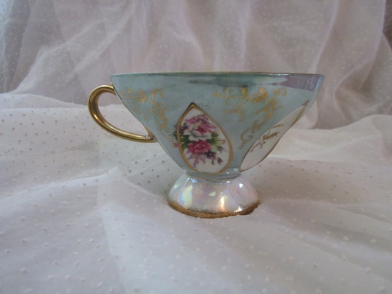 Ornate Footed Tea Cup Green Luster with Roses and  Indents Vintage