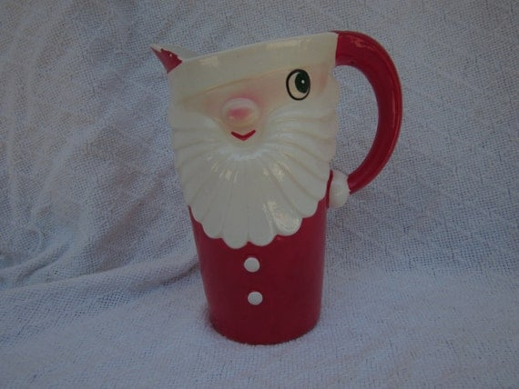 Mid Century Santa Holt Howard 1959 Pitcher Retro Red and White Christmas