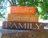 ThAnKsGiViNg FALL Decor Blessings GATHERINGS, Wood Shelf sitter Blocks for Fall, Halloween, Thanksgiving Holidays, Home Decor