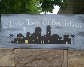 ChRiStMaS, OH LiTtLe TOwN oF BeTHleHeM PriMiTiVe ChRiStMaS HoLiDaY WooD SiGn