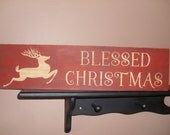 Christmas Sign/Blessed Christmas/Christmas Decor/Home Decor/Wood Sign/Red Distressed Sign/Primitive Sign/Rustic/Country/