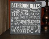 "BATHROOM Decor/Bathroom Rules Sign/Black/Home Decor/ Wood SIGN/Primitive Sign/Rustic Decor/Country/DAWNSPAINTING/12"" x 12"""