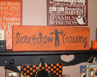 FALL SIGN/ScArEcRoW cRoSSinG/Fall Decor/Halloween Decor/ PriMiTiVe WooD SiGn,rustic Decor,Decorations for Fall/AuTuMn SiGn, Home  Decor