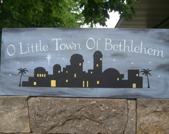 "Christmas Decor/OH LiTtLe TOwN oF BeTHleHeM/Christmas Sign/Nativity Jesus Manger Sign/ HoLiDaY WooD SiGn/Peace Joy Love Sign/8""x18"""