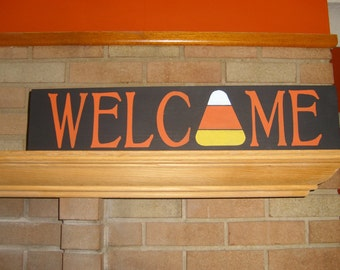 FALL Decor/Fall Sign/Autumn Sign/Welcome Sign/ Candy Corn Wood Sign/Halloween Decor/Thanksgiving Sign/Home Decor/6 x 24/DAWNSPAINTING