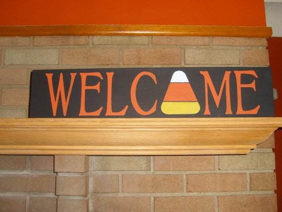 FALL Decor/ Welcome Sign/ Candy Corn Wood Sign/Halloween Decor/Fall Holiday/Thanksgiving/Home Decor/ Shelf Sitter/Porch/6 x 24/DAWNSPAINTING