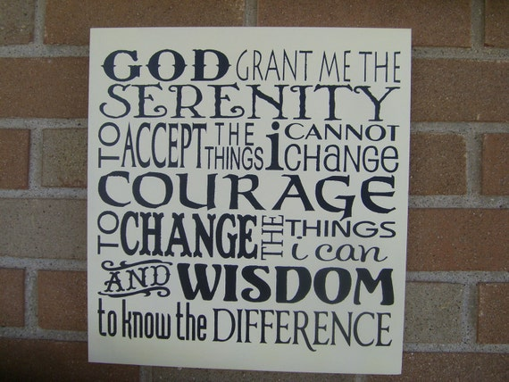 SERENITY PrAyEr Sign, Wood Sign, Inspirational sign,TyPoGrApHy, PrImiTiVe WooD SiGn, HoMe DeCor, God, DAWNSPAINTING, 12 x 12