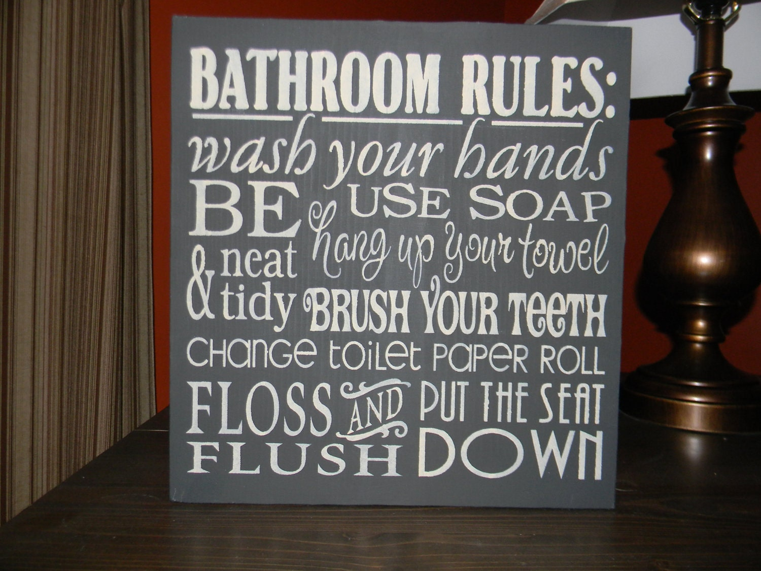 Bathroom decor bathroom rules sign black home by dawnspainting for Sign decoration