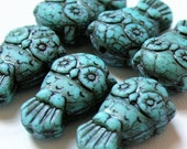 Czech glass - Owl beads, 19x12mm - pack 16 - Opaque Turquoise Matte w. inlay