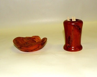 Wood Bowl and Cup Set/Burly Wild Cherry