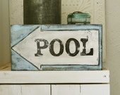 SALE, Vintage style POOL sign