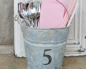 Galvanized Pail no.5, garden decor, farmhouse chic