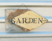 Garden sign, Vintage Tin sign, Garden Decor