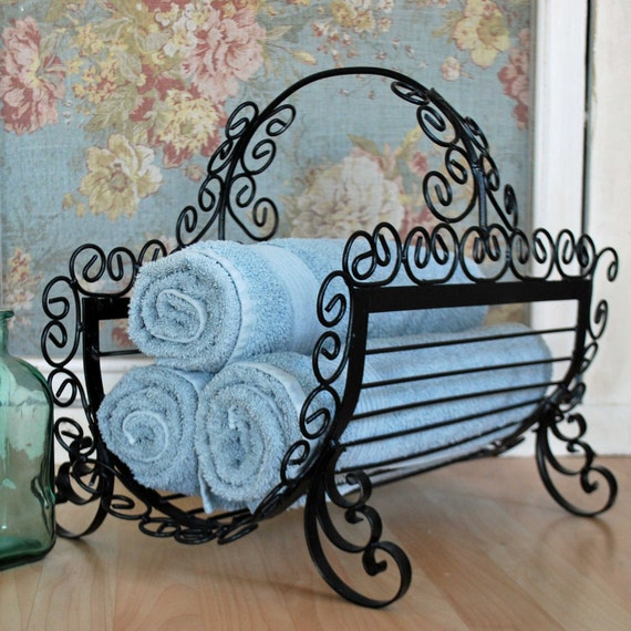 Towel Art Basket : Items similar to curly black metal towel basket on etsy