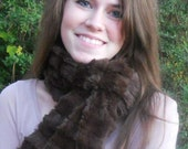 RESERVED - Infinity Circle Scarf Cowl Faux Fur Chocolate Brown