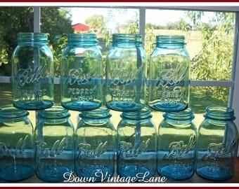 10 Blue Ball Perfect Mason Canning Jars Quart Size Vintage Blue Jars