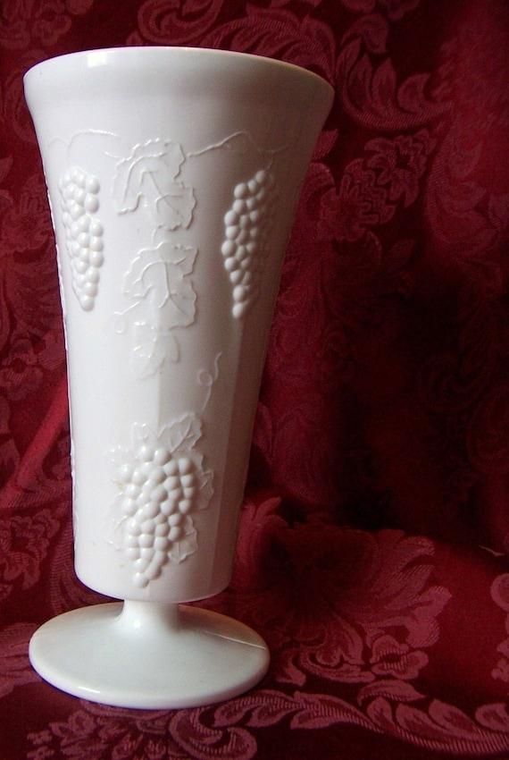 Vintage Grape Vine Milk Glass Vase