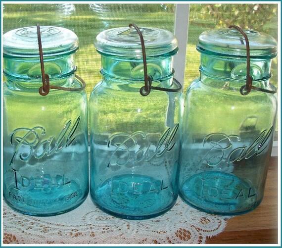 3 blue ball mason jars quart size buy one or buy all. Black Bedroom Furniture Sets. Home Design Ideas