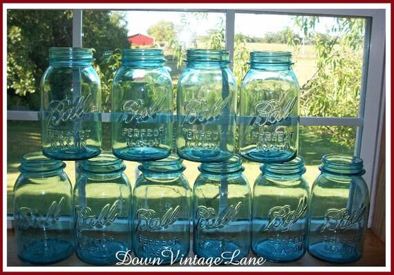 RESERVED for Jennifer Samin 15 Blue Ball Perfect Mason Jars Quart Size