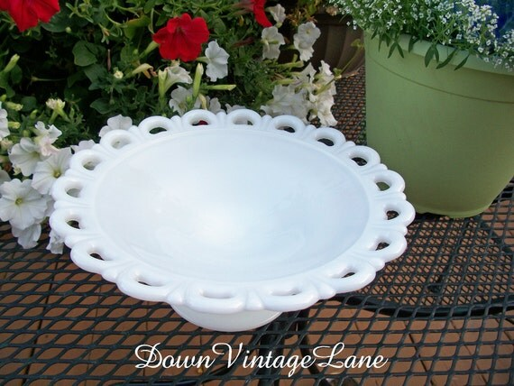 Milk Glass Cake Stand or Serving Dish on Pedestal