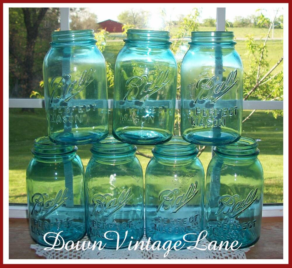 7 blue ball mason jars quart size vintage. Black Bedroom Furniture Sets. Home Design Ideas